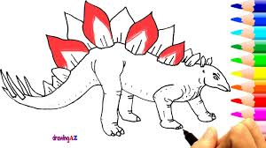 drawing and coloring stegosaurus dinosaur for learning colors and
