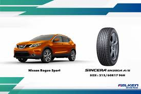 nissan rogue tire size falken sincera sn250a a s to be equipped as factory standard tires
