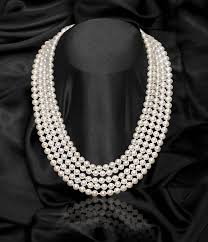pearl necklace strand images White 5 strand freshwater pearl necklace jpg