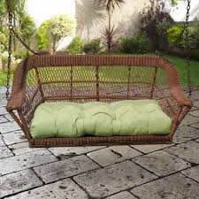 amazing outdoor wicker porch swings green finish synthetic rattan