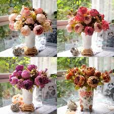 Fake Flowers For Home Decor Artificial Peony Bouquet Artificial Silk Flowers Home Wedding