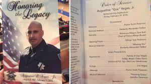 memorial service programs photos memorial for richmond officer gus vegas abc7news