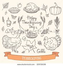 thanksgiving traditional symbols doodle stock vector