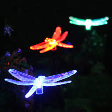 Solar Lights For The Garden Color Changing Dragonfly Garden Stake Light Set Of Three 3