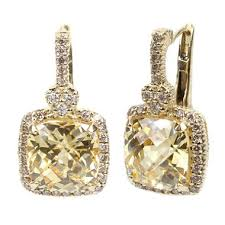 judith ripka earrings judith ripka cushion canary and diamond accent earrings in