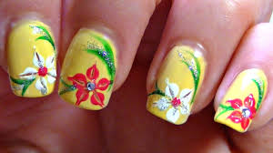 summer lily nail art design tutorial perfect for short nails