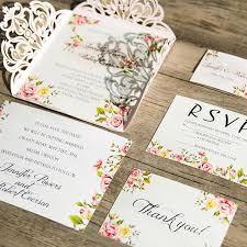 wedding invitations floral blush pink laser cut floral wedding invitations ewws064 as low as