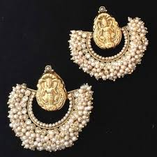 earrings online india buy chandni pearl golden lakshmi hoop india ethnic copper