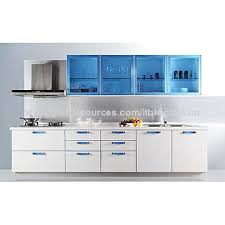 Kitchen Cabinet Factory Lacquer Kitchen Cabinet With White Color Blue Glass Wall Cabinet