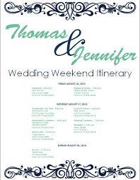 wedding itinerary template affordablecarecat