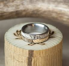 wood engagement rings spalted maple and antler wedding band set on titanium staghead