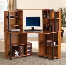 amazon com corner computer desk workstation with hutch brown