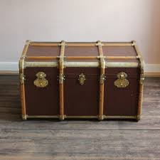 brass trunk coffee table circa 1920s french brass and vellum trunk coffee table leather