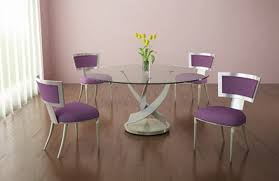 how to make a glass table round glass table with purple dining room chair home interiors