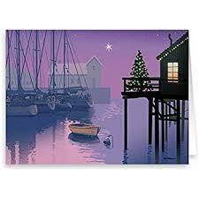santa loads the boat nautical theme card