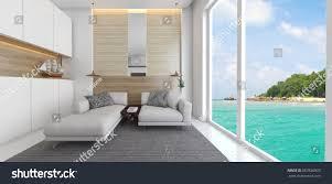 loft living room glass front windows stock illustration 667836823