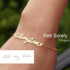 personalized bracelet personalized bracelet made using your handwriting from sterling