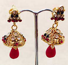 gold jhumka earrings bejewelled bazaar gold jhumka earrings with and green stones