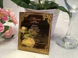 wedding menu gold mirror acrylic menu food menu laser engraved