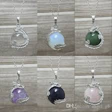 silver crystal ball necklace images Wholesale 18kgp dragon with healing stone crystal quartz amethyst jpg