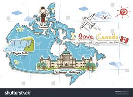 Niagra Falls Map Map Depicting Tourist Attractions Canada Stock Illustration