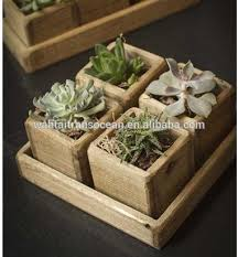 wooden outdoor garden rectangular shabby chic planter succulent