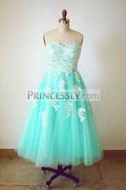 strapless sweetheart mint blue tulle lace tea length short wedding
