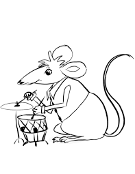 mouse playing drums coloring page free printable coloring pages