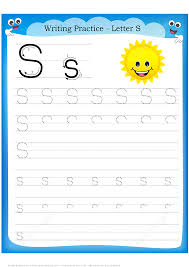 letter s is for sun handwriting practice worksheet free