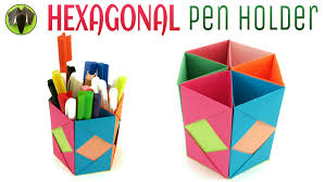cool pen holders hexagonal pen pencil holder diy handmade tutorial by paper