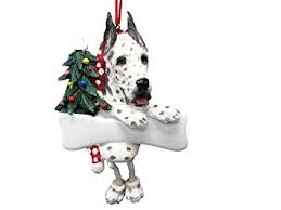 harlequin great dane ornament with unique dangling