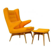 mid century chair and ottoman yellow