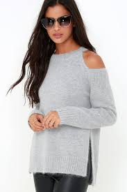 cold shoulder sweaters grey sweater knit sweater cold shoulder top 71 00