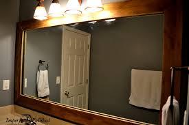 reclaimed wood bathroom mirror wood framed bathroom mirrors cherry for bathrooms wondrous 0