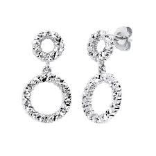 white gold dangle earrings 14kt white gold diamond cut rectangular earrings