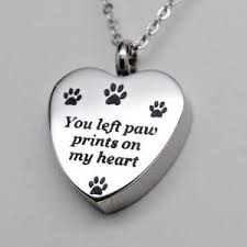 pet ashes jewelry you left paw prints on my heart paw urn necklace cremation jewelry