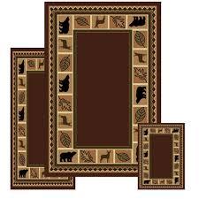 pine cone area rug amazon com furnishmyplace 3 piece wildlife bear moose rustic