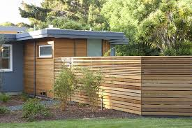 Midcentury Modern Landscaping - horizontal wood fence exterior midcentury with midcentury modern