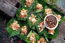 cuisine du nord de la le miang kham เม ยงคำ qui provient du nord de la thaïlande est