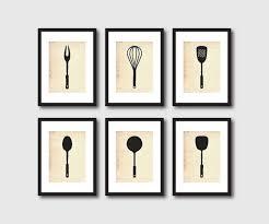 Retro Chalkboards For Kitchen by Kitchen Wall Art Set Of Six 5 X 7 Prints Kitchen Utensils