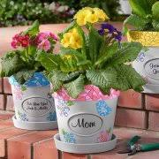personalized flower pot personalized mosaic flower pot bird pink available with name