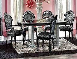 toned silver u0026 black high gloss finish classic dining room