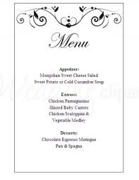 wedding menu templates printable poetic menu template