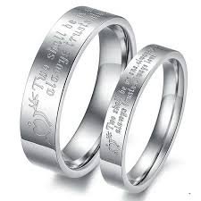 couples ring sets never darken titanium steel engraved his and hers heart