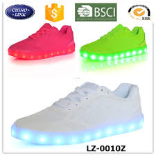 ladies light up shoes women breathable fabric upper running shoes battery operated led