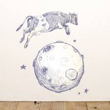 cow jumps over the moon wall sticker by oakdene designs