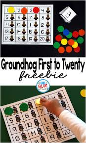 groundhog first to twenty math game a dab of glue will do