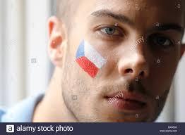 Flag Face Czech Sport Fan Czech Flag Face Bodypainting Stock Photo