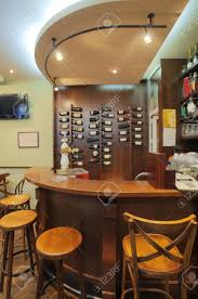 interior of a small cafe view on a wooden bar stock photo