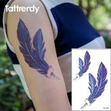 tattoo bulu 3d waterproof temporary tattoo on arm peacock blue feather women water